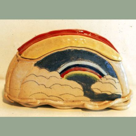 Rainbow covered container - 1976 - coloured glazes over stoneware body
